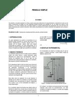 Pendulo Simple informe  de labotorio
