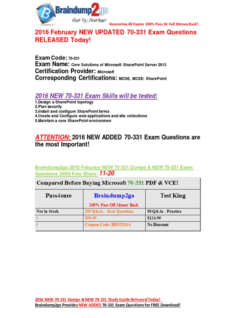 2016 feb new releasedbraindump2go latest 70 331 exam questions 11 2016 feb new releasedbraindump2go latest 70 331 exam questions 11 20 share point active directory xflitez Images