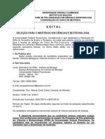 Ciências e Biotecnologia Edital Mestrado 02.2015