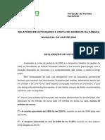 Declaração de Voto  Conta de Gerência 2009