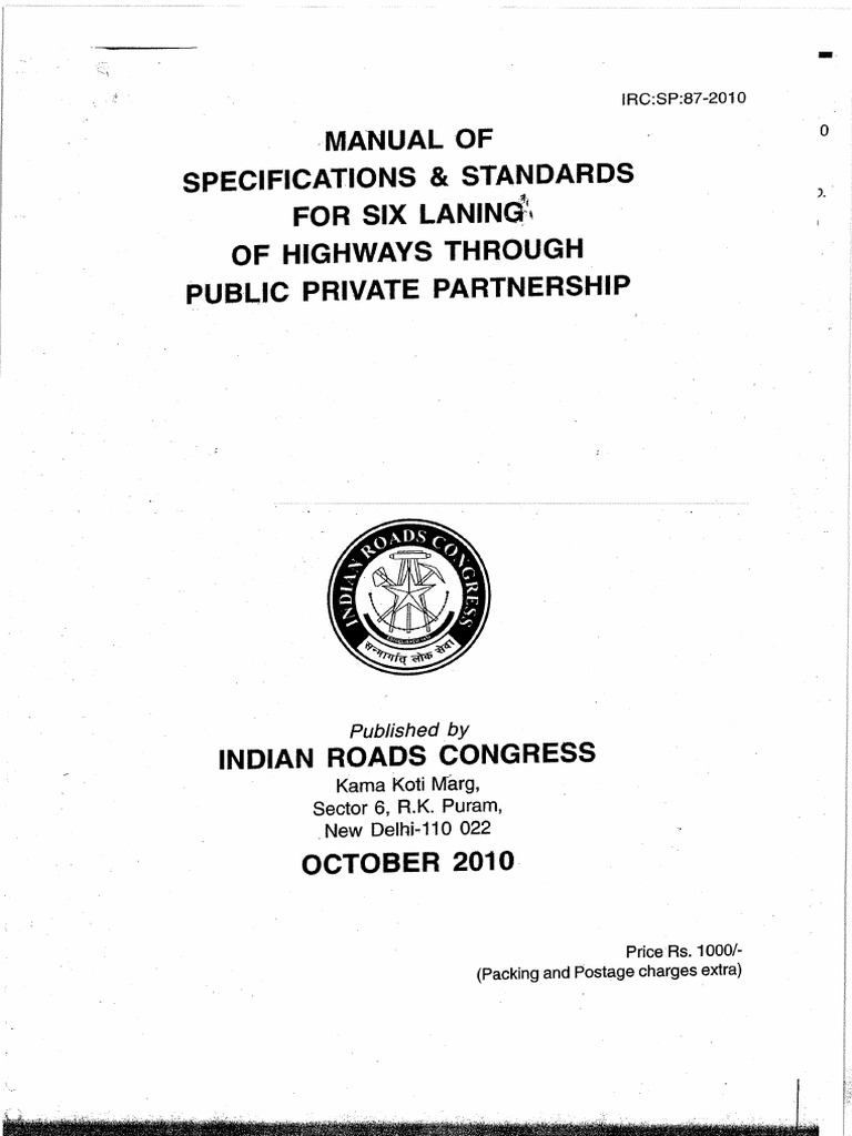 irc sp 87 2010 manual of specifications standards for six laning rh es scribd com SP20 Omnidirectional Speaker irc sp 20 rural road manual