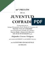 Pregón Juventud Cofrade Málaga 2015. Alejandro Cerezo