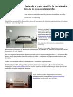 Excelente empresa dedicada a la decoración de dormitorios minimalistas y al diseño de camas minimalistas