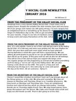 VSC February Newsletter for 2016