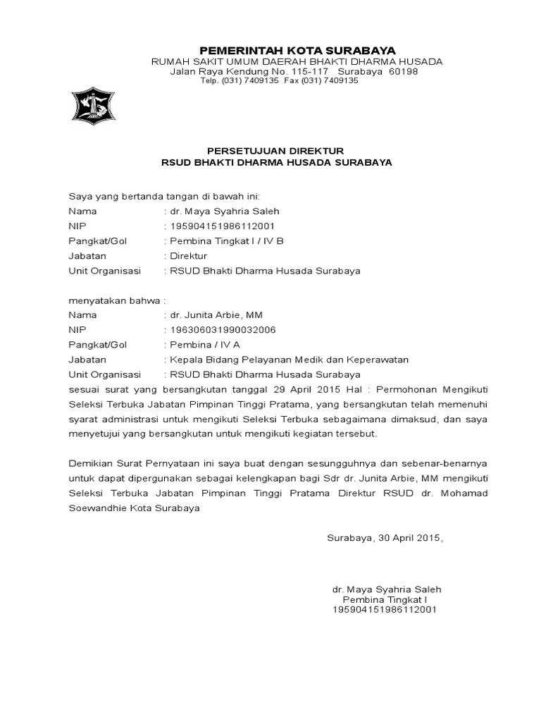 Contoh Pernyataan Persetujuan Atasan Langsung