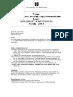 Exam Manegmant accounting Intermediate 08 July 2013