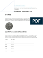 Nominal Mix Concrete Material Calculation