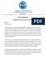 PUP PRESS RELEASE ON GUATEMALA AND THE SARSTOON