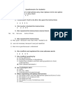 Questionnaire for Students LSA3