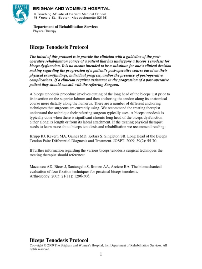 Biceps Tenodesis Protocol 2009 Anatomical Terms Of Motion Shoulder