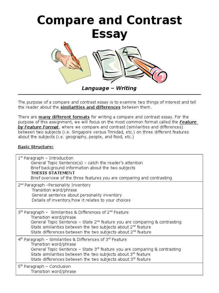 compare and contrast essay 5 essay In this post, i'll show you how to develop a compare and contrast essay outline that lets you beat writer's block and craft a great essay about anything.
