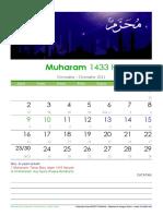 Kalender Islam Bulanan 1433 01 Muharram