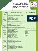 CRONOGRAMA DE VISITAS A INSTITUCIONES EDUCATIVAS