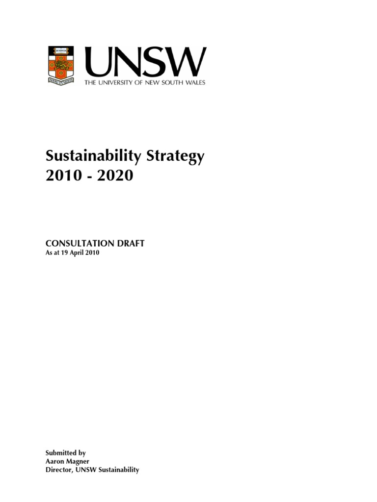 unsw sustainability strategy as at 19 april 2010 sustainability