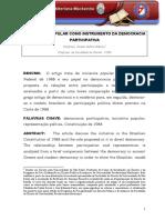 A Iniciativa Popular Como Instrumento Da Democracia