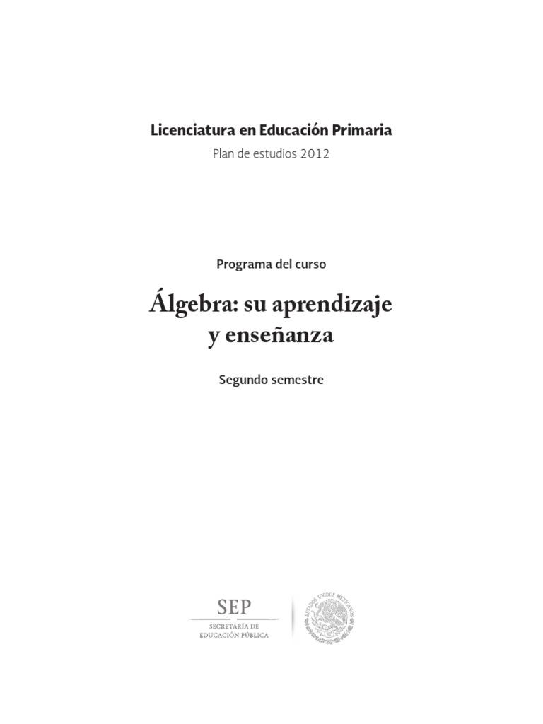 Algebra Su Aprendizaje y Ensenanza