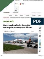 Governo Eleva Limite de Capital Estrangeiro Em Empresas Aéreas - 01:03:2016 - Mercado - Folha de S.paulo