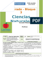 Plan 6to Grado - Bloque 3 Ciencias Naturales (2015-2016)