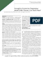 Validez de 2 Preguntas Para Ansiedad y Depresion en Pac Con Lumbagia Cronica