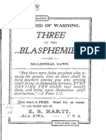 Three of the Blasphemies of the Millenial Dawn by EB Hartt, 1905