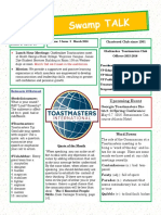 Swamp Talk:Okefenokee Toastmasters Newsletter, March 2016