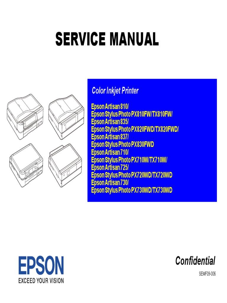 reset artisan 800 service manual
