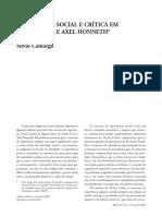 CAMARGO, S. Teoria Crítica a. Gorz e a. Honneth