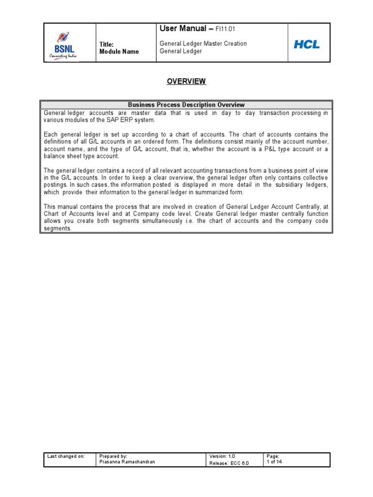 General Ledger Master Creation | Business Process | Computing