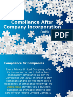 Post Incorporation compliances for Private Limited Company