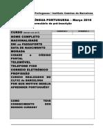 Formulário Pré-Inscrição 2016 Março