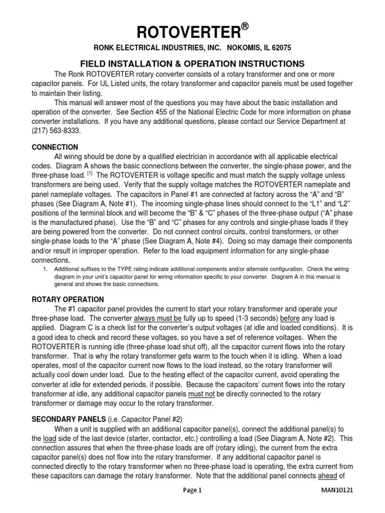 Rotoverter Manual 10121 Capacitor Transformer Ronk Wiring Diagram