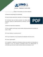 Questionário - Adaptação e Lesão Celular