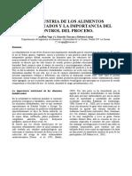 LA INDUSTRIA DE LOS ALIMENTOS DESHIDRATADOS Y LA IMPORTANCIA DEL CONTROL DEL PROCESO.