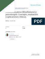 CONCIENCIA PLENA (MINDFULNESS) Y PSICOTERAPIA- CONCEPTO, EVALUACIÓN Y APLICACIONES CLÍNICAS.pdf