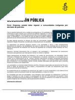 Declaración de AI sobre derrame de petróleo en selva peruana