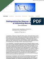 Ernst Von Glasersfeld - Distinguishing the Observer - An Attempt at Interpreting Maturana