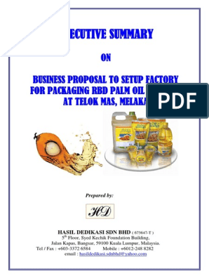 EXEC SUMMARY BIZ PROPOSAL PACKAGING PALM OIL PRODUCT FACTORY