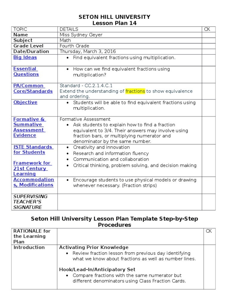 Student teaching placement 1 lesson plan 14 fraction mathematics student teaching placement 1 lesson plan 14 fraction mathematics lesson plan saigontimesfo