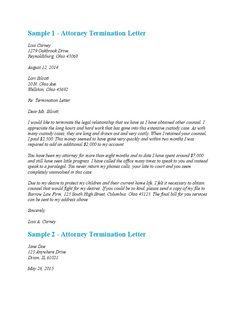 Sample Letter To Terminate Attorney Lawyer