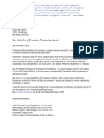 Articles of Freedom | Transmittal Cover Letters to Key State and Federal Elected Persons