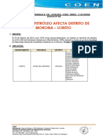 Informe de Indeci sobre emergencia en Morona por derrame de petróleo
