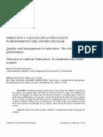 Dirección y Calidad de La Educación. El Rendimiento Del Centro Escolar