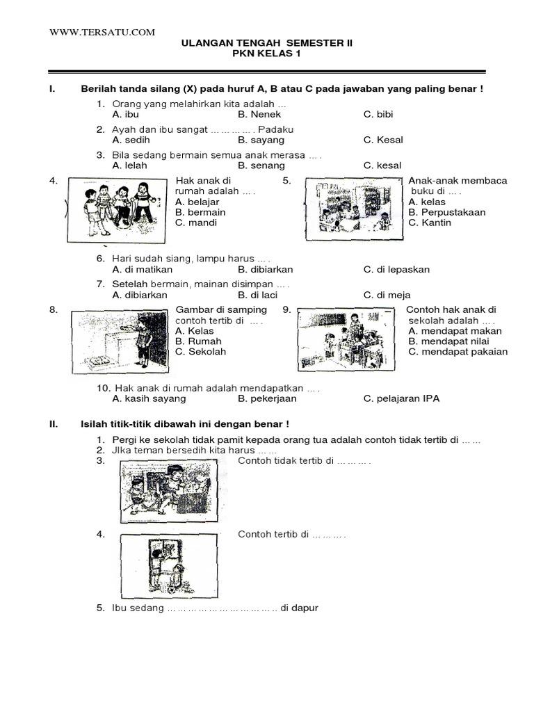 Soal Uts Pkn Kelas 1 Semester 2 Pdf