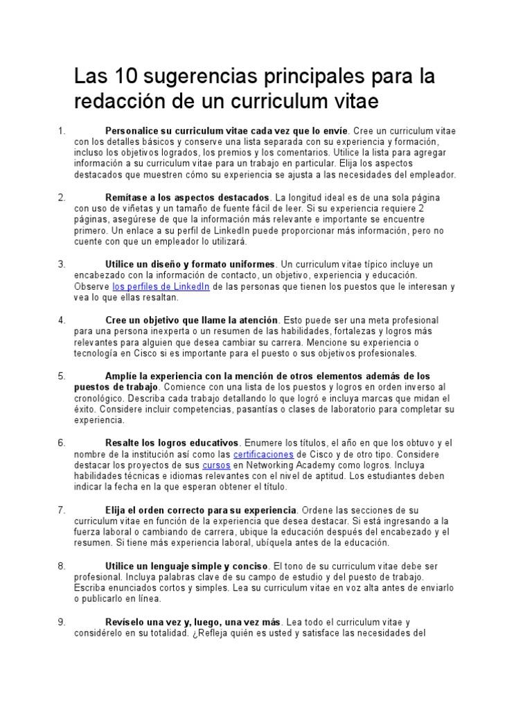 Elementos De Curriculum Vitae. Amazing Excelente Infografa Qu ...