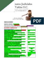 Lista de inmuebles de Remates Judiciales Valdor S.C.