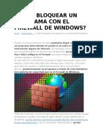 Cómo Bloquear Un Programa Con El Firewall de Windows