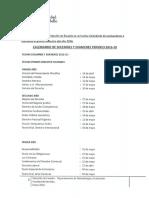 Calendario evaluaciones 201610