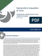 Samsonite TUMI acquisition 2016