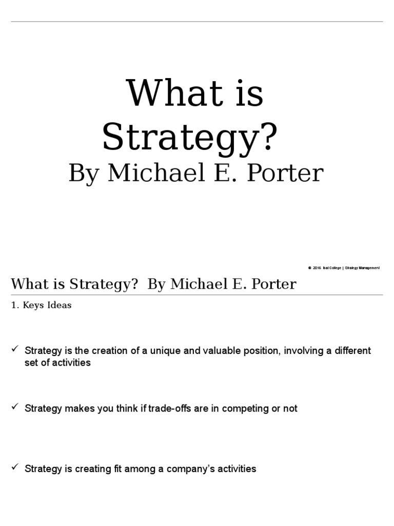 the positioning strategies identified by michael porter are