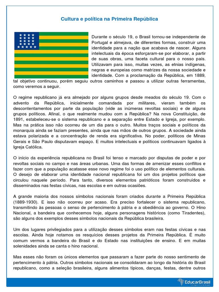 A Primeira Bandeira Do Brasil Republica cultura e política na primeira república  república  brasil